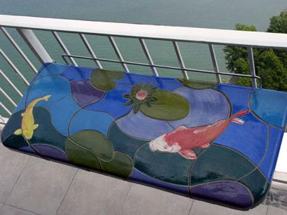Aliberti art tile architectural ceramics tile murals for Koi pool table